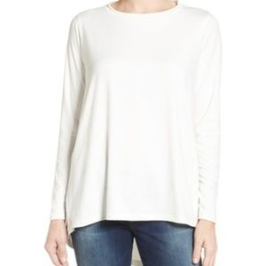 Bobeau Ivory White Butter High/Low LS Top M